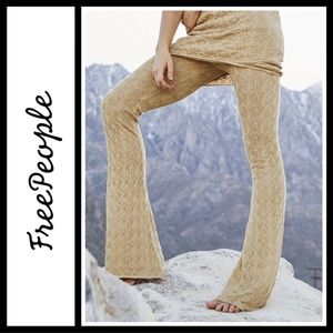 Free People Take Me Out Gold knit Pants NWT